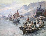 Lewis and Clark on the Lower Columbia, Gemälde von Charles Marion Russell