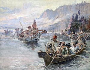 Presidency of Thomas Jefferson - In October 1805, Jefferson's Corps of Discovery meet the Chinook tribe on the Columbia River, Painting by Charles Marion Russell, 1905