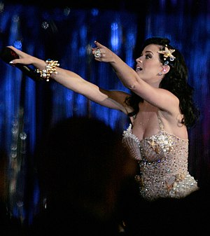 "One of the Boys (Katy Perry album) - Perry performing ""I Kissed a Girl"" at the Life Ball in May 2009 in Vienna, Austria"