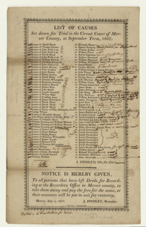 Notice - July 4, 1807 notice to persons for September circuit court session, Mercer County, Pennsylvania