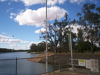 1956 Murray River flood - Flood markers at Lock 11, Mildura. The second red marking from the top is where the river reached in 1956.