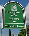 London Borough of Brent Willesden Green sign, Willesden Lane, Willesden Green - geograph.org.uk - 2053490.jpg