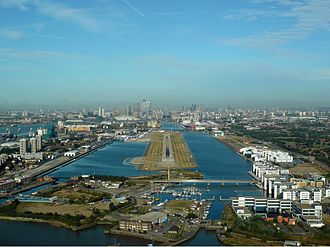 Royal Docks - Aerial view of the docks looking west, 2010