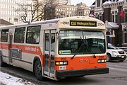 A GM Classic bus in the older colour scheme