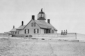 Cape Cod style - Long Point Light in Provincetown, circa 1830, doubled as the first schoolhouse for Long Point, now a ghost village