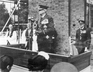Hugh Dowding - Lord Dowding laying the foundation stone of the RAF chapel, now known as St. George's Chapel of Remembrance, at RAF Biggin Hill in 1951
