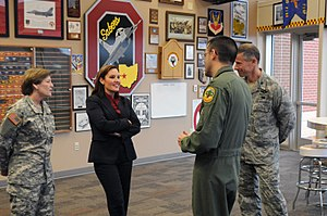 Mary Taylor (politician) - Ohio Lt. Gov. Mary Taylor visits the 178th Fighter Wing, Springfield Air National Guard Base, Ohio March 19, 2014 to learn about the wing's new missions and share the state proposal to allow veterans returning home more opportunities earning college credit. Col. Greg Schnulo, 178th Fighter Wing Commander, (far right) and Col. Bryan Davis, 178th Reconnaissance Group Commander, (right) explain the wing's new missions along with Maj. Gen. Deborah Ashenhurst, Ohio adjutant general (left).