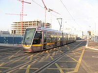 Luas tram, Dublin, on the extension to the Point. - geograph.org.uk - 1754765.jpg