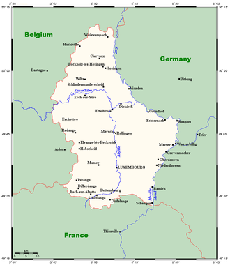 Geography of Luxembourg - Towns and rivers in Luxembourg