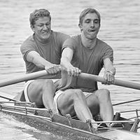 Two rowers with one oar each