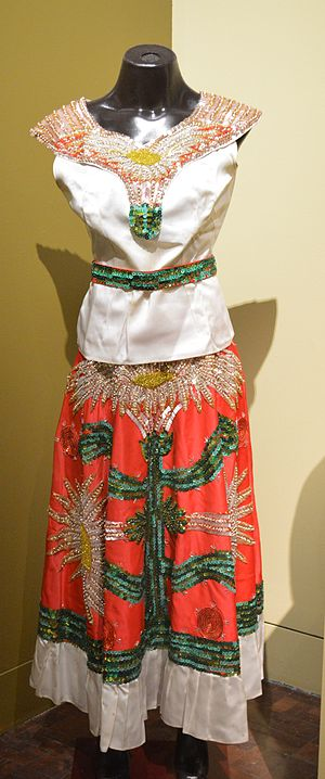 "Pitaya - Dress for a folk dance called Flor de Pitahaya ""Pitahaya Flower"" from Baja California Sur displayed at the Museo de Arte Popular in Mexico City"