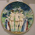 Maestro giorgio da gubbio, piatto con le tre grazie, 1535.JPG