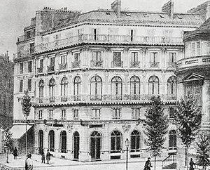 "Boulevard des Italiens - lThe ""Maison dorée"", with the ""café Tortoni"" on the left and the ""café Riche"" on the right (c. 1900s)"
