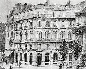 """Boulevard des Italiens - lThe """"Maison dorée"""", with the """"café Tortoni"""" on the left and the """"café Riche"""" on the right (c. 1900s)"""