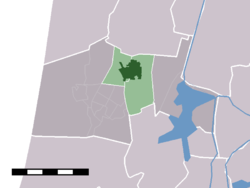The town centre (darkgreen) and the statistical district (lightgreen) of Limmen in the municipality of Castricum.