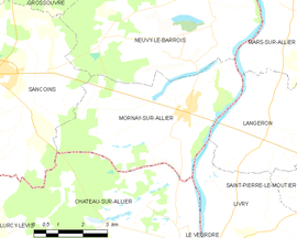 Mapa obce Mornay-sur-Allier