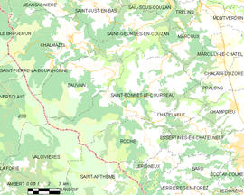 Mapa obce Saint-Bonnet-le-Courreau