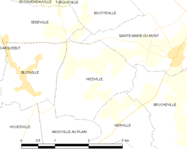 Mapa obce Hiesville