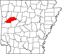 Map of Arkansas highlighting Logan County
