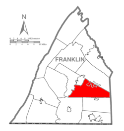 Map of Franklin County, Pennsylvania highlighting Guilford Township