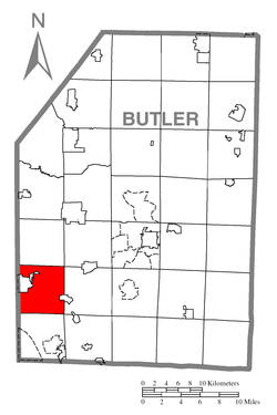 Map of Butler County, Pennsylvania highlighting Jackson Township