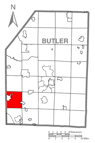 Jackson Township, Butler County, Pennsylvania - Image: Map of Jackson Township, Butler County, Pennsylvania Highlighted