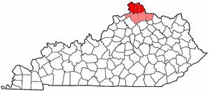 Northern Kentucky - Image: Map of Kentucky highlighting Northern Kentucky