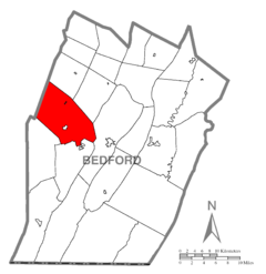 Map of Napier Township, Bedford County, Pennsylvania Highlighted.png