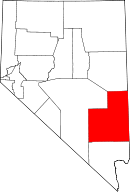 Map of Nevada highlighting Lincoln County