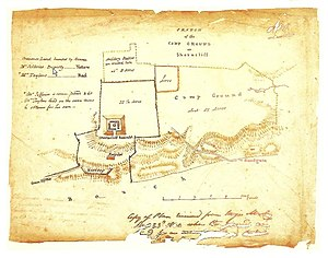 Shorncliffe Army Camp - Map dated 1801 showing Shorncliffe Redoubt on the left and the camp ground on the right