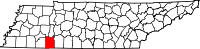 Map of Tennessee highlighting Hardin County