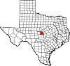 State map highlighting San Saba County