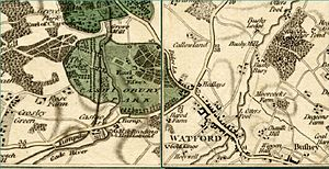 Cassiobury House - A map by John Cary showing the grounds of the park in 1800