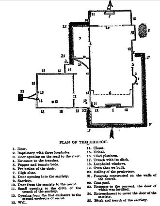 Siege of Baler - Map of church during the siege.