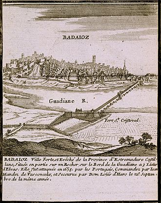 Siege of Badajoz (1658) - View of Fort San Cristóbal in an engraving by G. Baillieu from the Atlas françois: contenant les cartes geographiques dans lesquelles sont tres exactement remarquez.