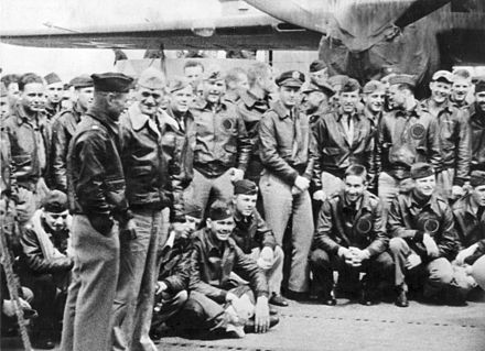 Orders in hand, Navy Capt. Marc A. Mitscher, skipper of the USS Hornet, chats with Lt. Col. James Doolittle. Marc A. Mitscher and James Doolittle.jpg