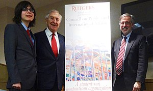 Bob Krueger - Krueger with Marc Holzer and Edmund Janniger at the Rutgers Council on Public and International Affairs