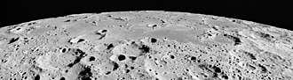 Mare Australe - Oblique view of northern Mare Australe on the moon, facing south, from Apollo 15.  The crater Abel is at right, Gernsback is at left, with Donner in the left foreground.  The craters Lamb, Jenner, and Gum are visible on the horizon (from left to right).