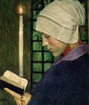 Donna che prega a Candelora (dipinto di Marianne Stokes, 1901)