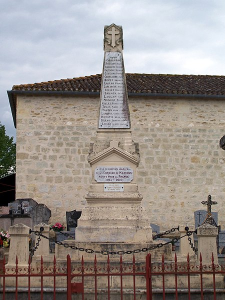 War memorial of Marions (Gironde, France)