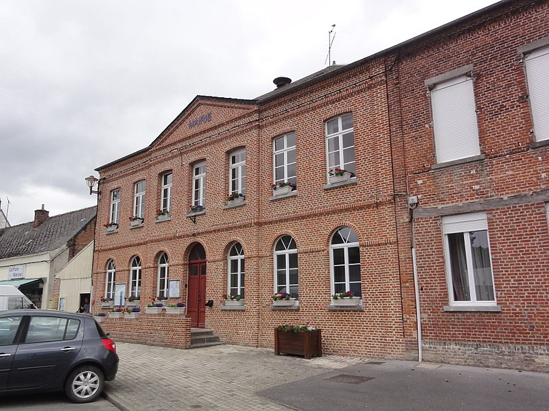 Town hall of Marly-Gomont, a comune in Aisne, France.
