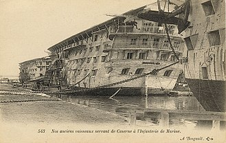 Hulk (ship type) - French ship Souverain, barracks for marines