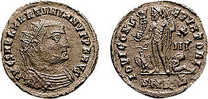 Martinian (emperor) - Follis of Martinian He is shown wearing the 'radiate crown' associated with solar deities. The reverse shows the god Jupiter holding a winged victory. This is a visual example of the conservative political and religious stance of the Licinian regime.