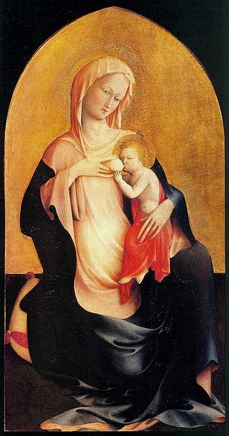 Masolino da Panicale - Madonna dell'Umiltà c. 1423, Tempera on wood, Uffizi Florence