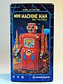 Masudaya – Tin Wind Up – Mini Machine Man Robot (ミニ マシンマン ロボット) – Last member of the Gang of Five – Box Art.jpg