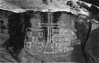 Yellala Falls - The Stone of Yellala, bearing an inscription of 1485 by Diogo Cão