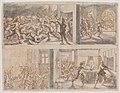 Mathäus Merian st., Zavraždění Valdštejna (1635), Kresba perem v hnědém tónu, štětcem šedě, 235 x 263 mm, sbírka kresby Národní galerie v Praze.jpg
