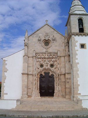 Golegã - Main Church of Golegã and its Manueline portal.