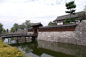 Matsushiro Castle - Matsushiro Castle moats and reconstructed gate