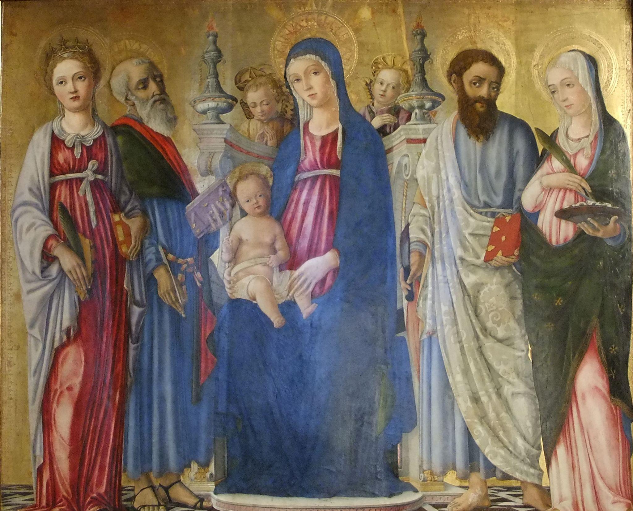 Matteo di Giovanni - Madonna con S. Caterina, S. Matteo, S. Bartolomeo, S.Lucia